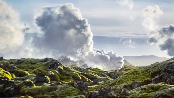 Harnessing the power of the volcanoes: Hellisheidi is Iceland's largest geothermal plant Credit: G Svanberg / BBC