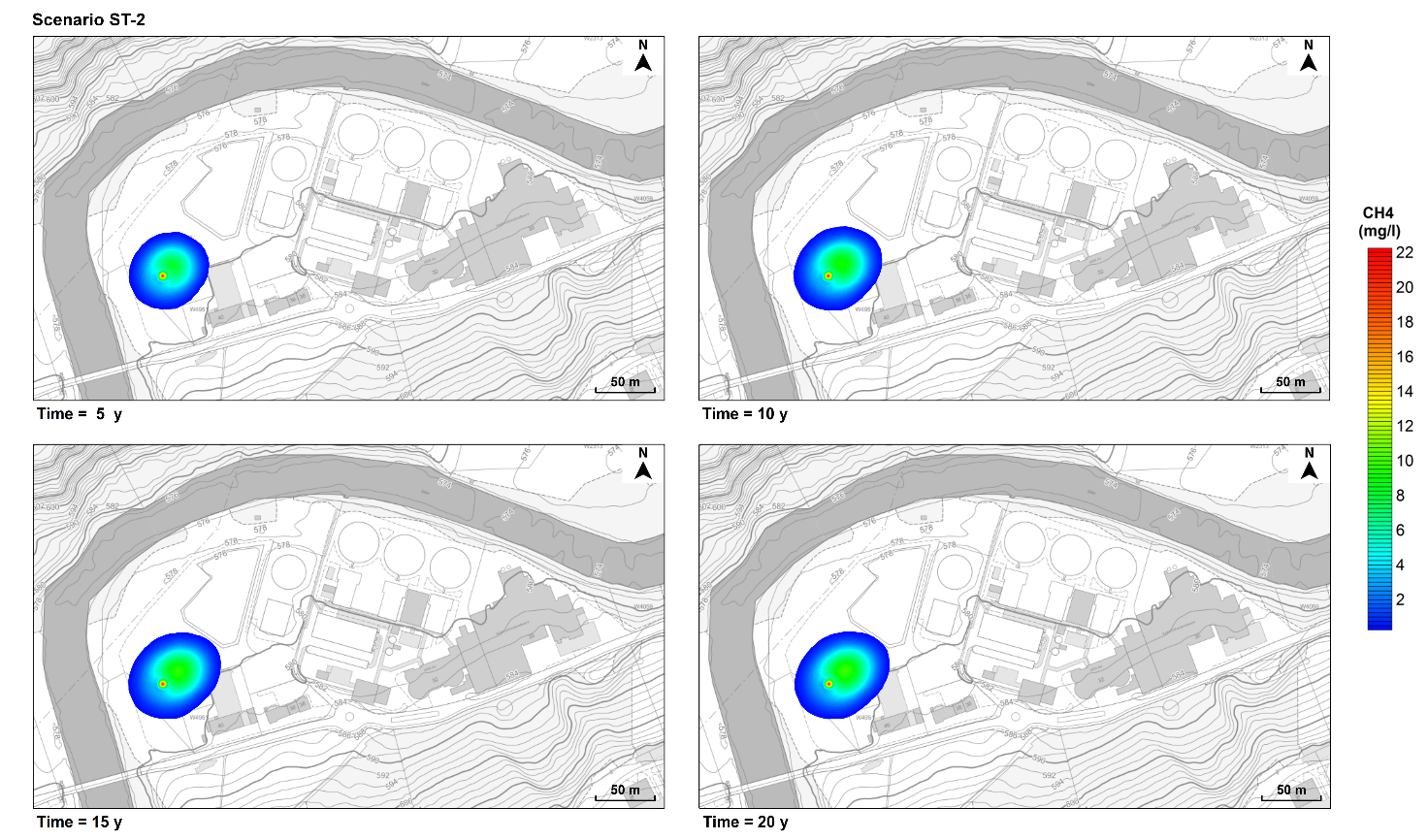 Figure 3. Predicted dissolved methane plume over time (5, 10, 15, and 20 years). Scenario ST-2. Background images taken from Geoportal St. Gallen (https://www.geoportal.ch/st_gallen).