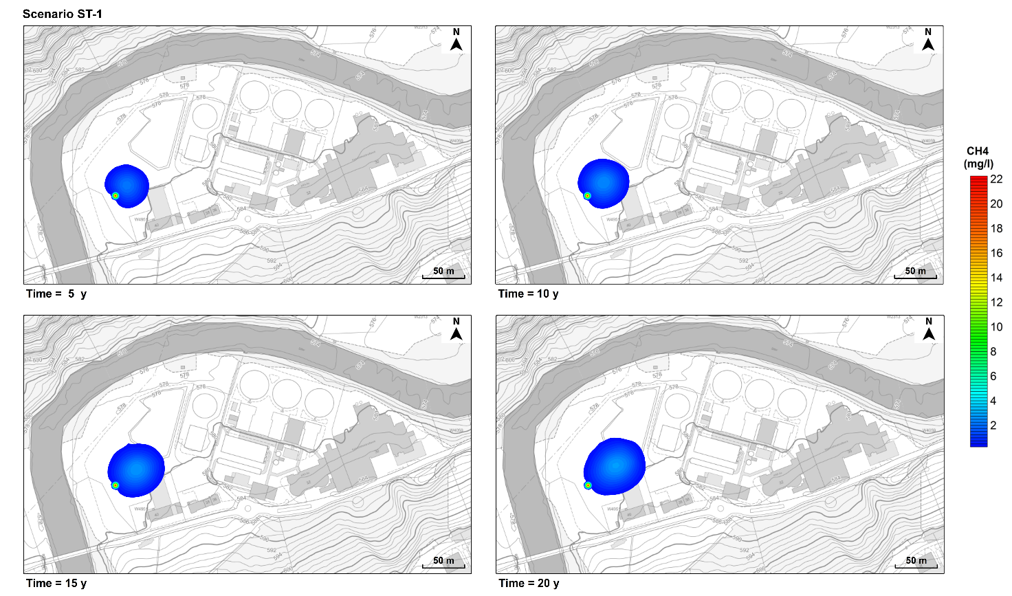 Figure 2. Predicted dissolved methane plume over time (5, 10, 15, and 20 years). Scenario ST-1. Background images taken from Geoportal St. Gallen (https://www.geoportal.ch/st_gallen)
